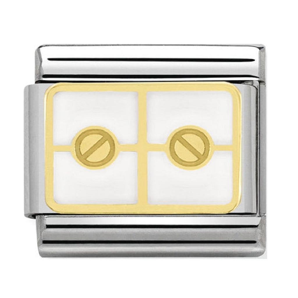 Nomination Charms 18ct gold screws with White Enamel