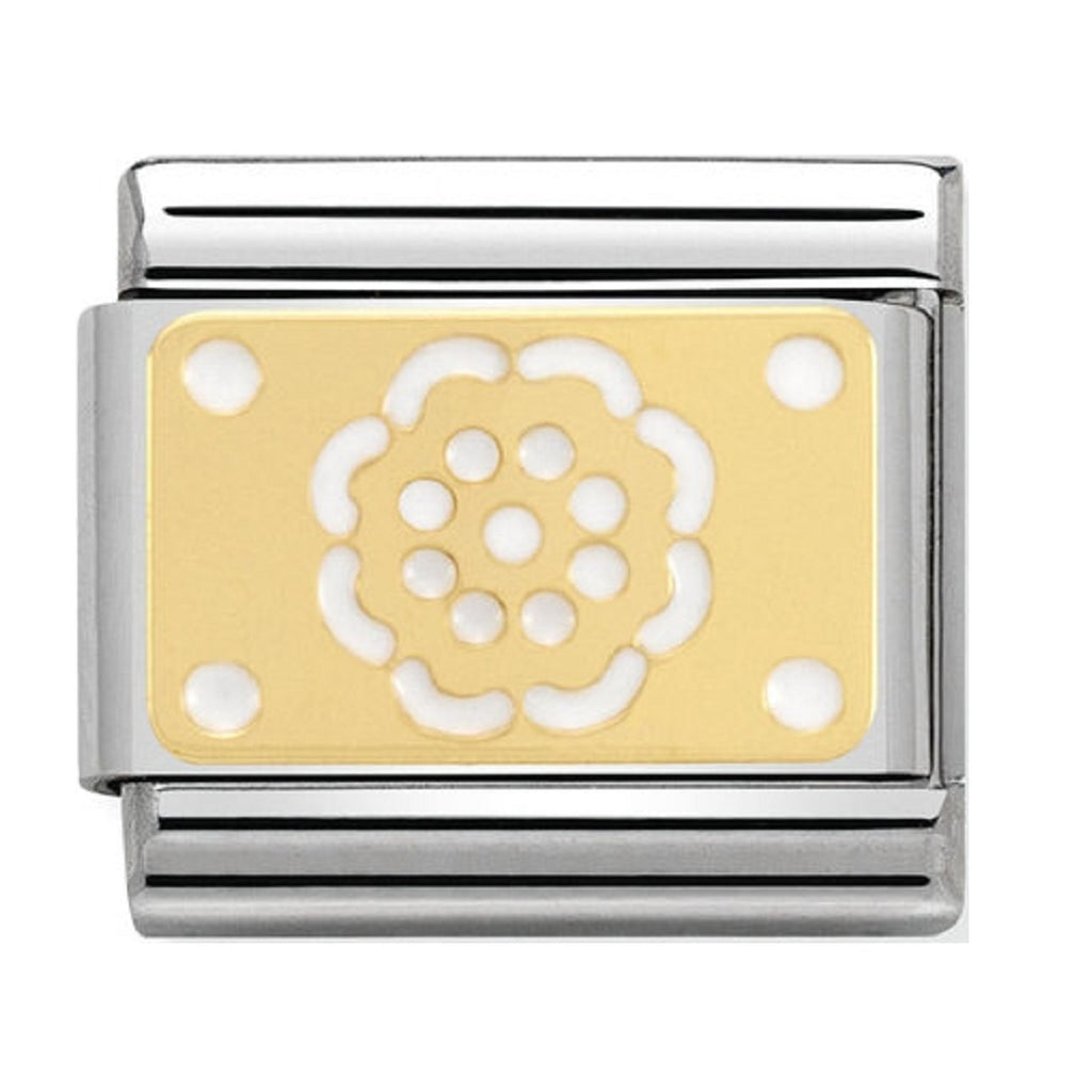 Nomination Charms 18ct Plate with Flower and White Enamel