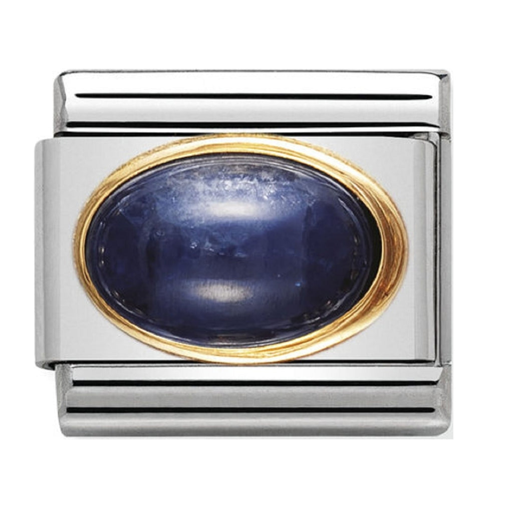 Nomination 18ct Gold and Sapphire Oval semiprecious  stone