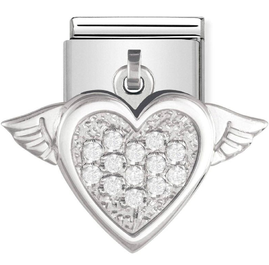 Nomination Charms Cubic Zirconia Silver Heart with Wings 031711-15