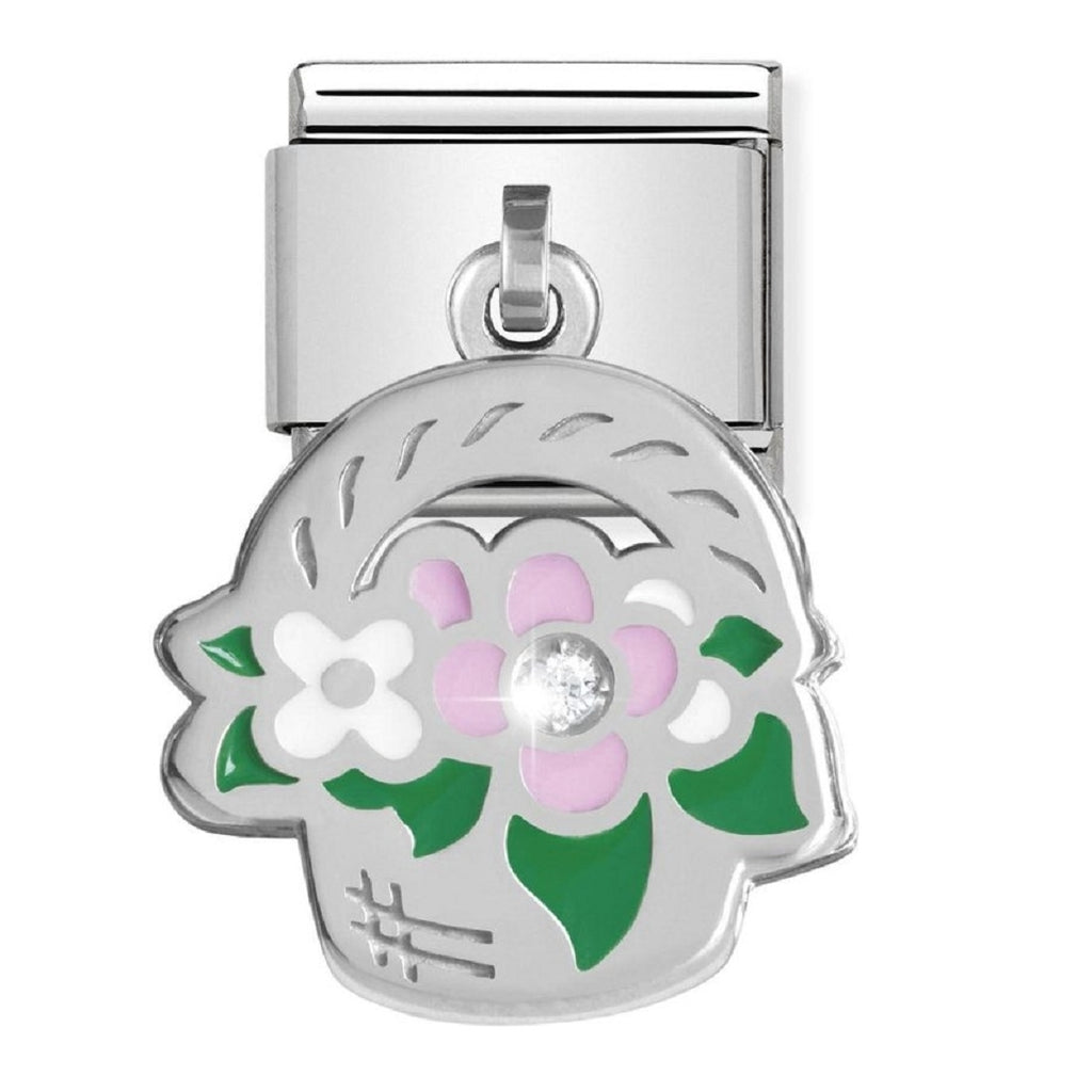 Nomination Charms Silver and Enamel Basket with CZ