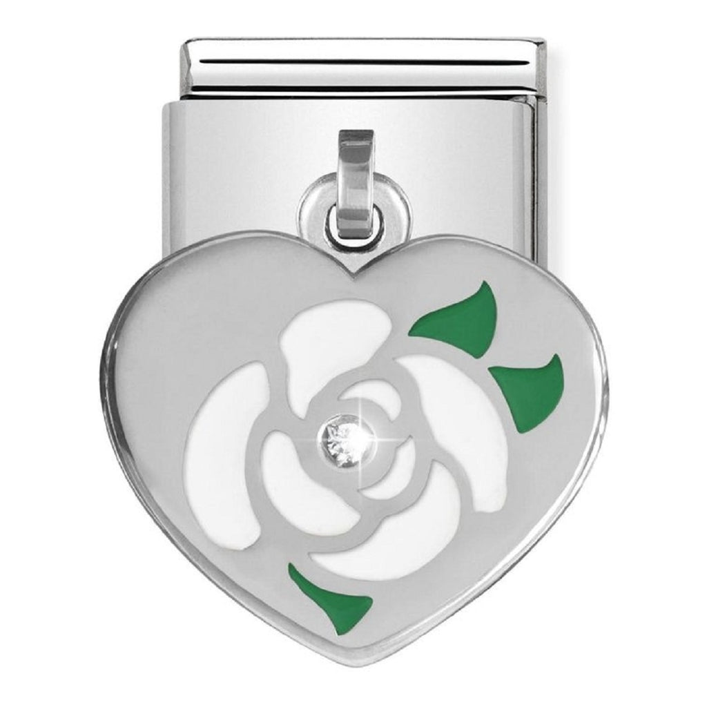 Nomination Charms Silver and Enamel Flower heart with CZ