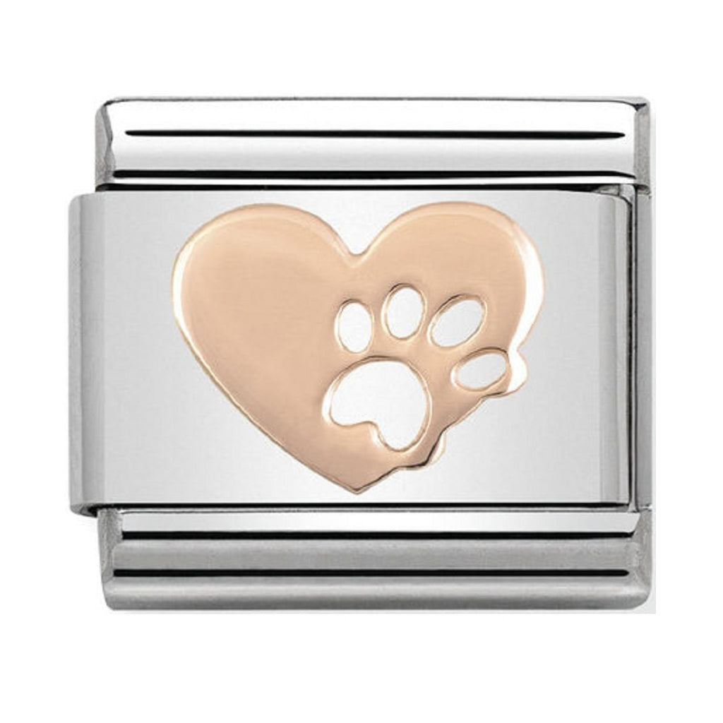 Nomination Link Rose Gold Heart with Paw