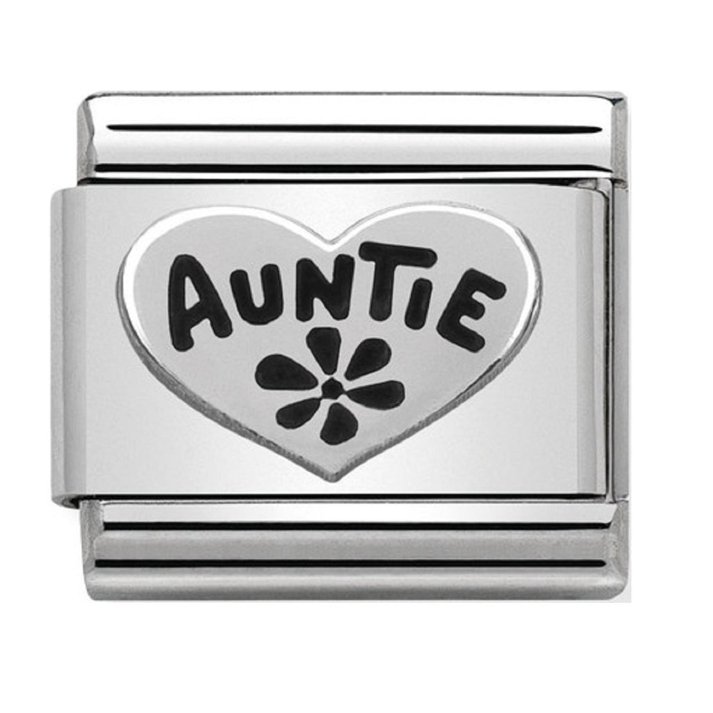 Nomination Link Silver Auntie Heart