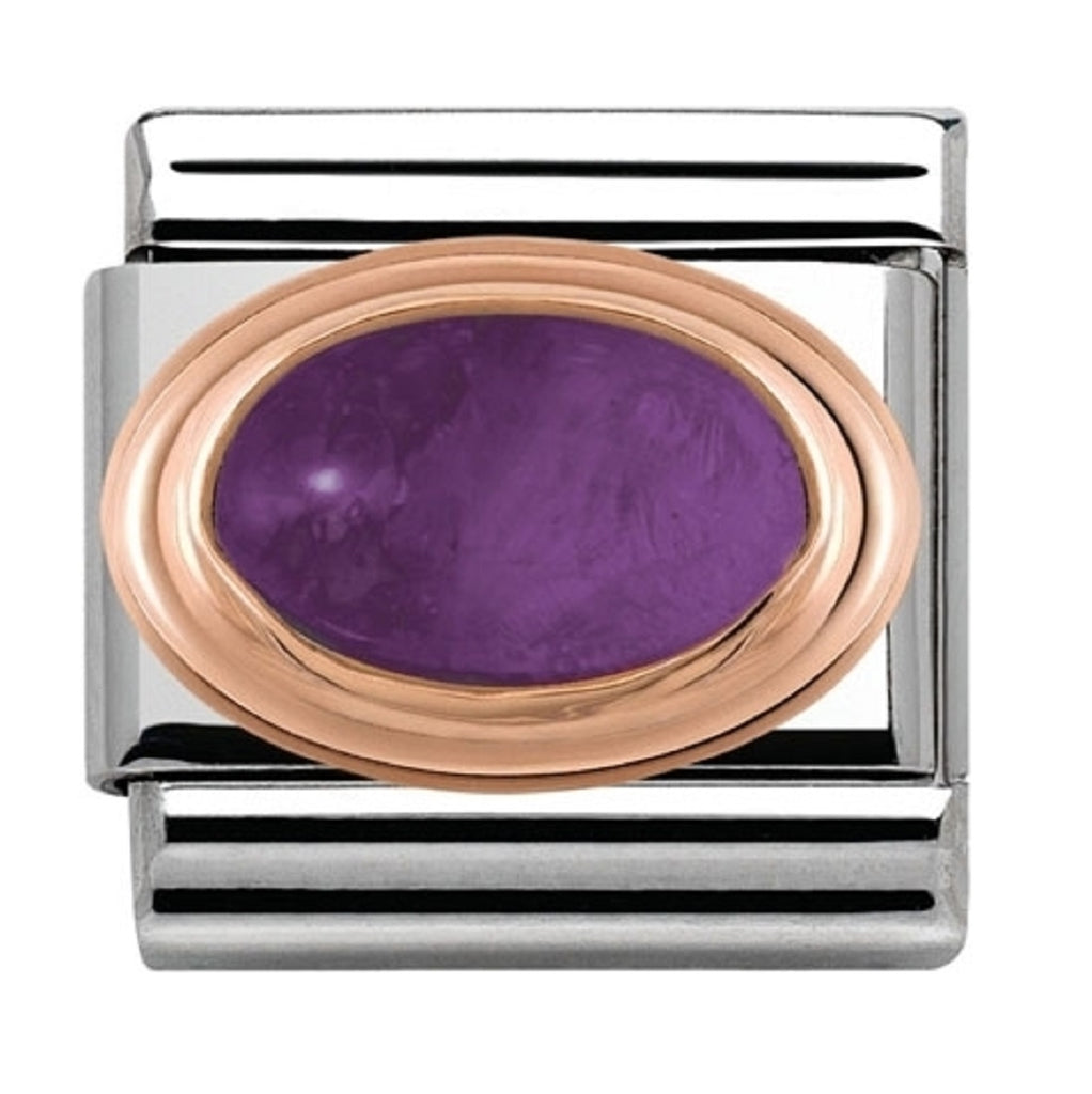 Nomination Charms Rose Gold Amethyst stone