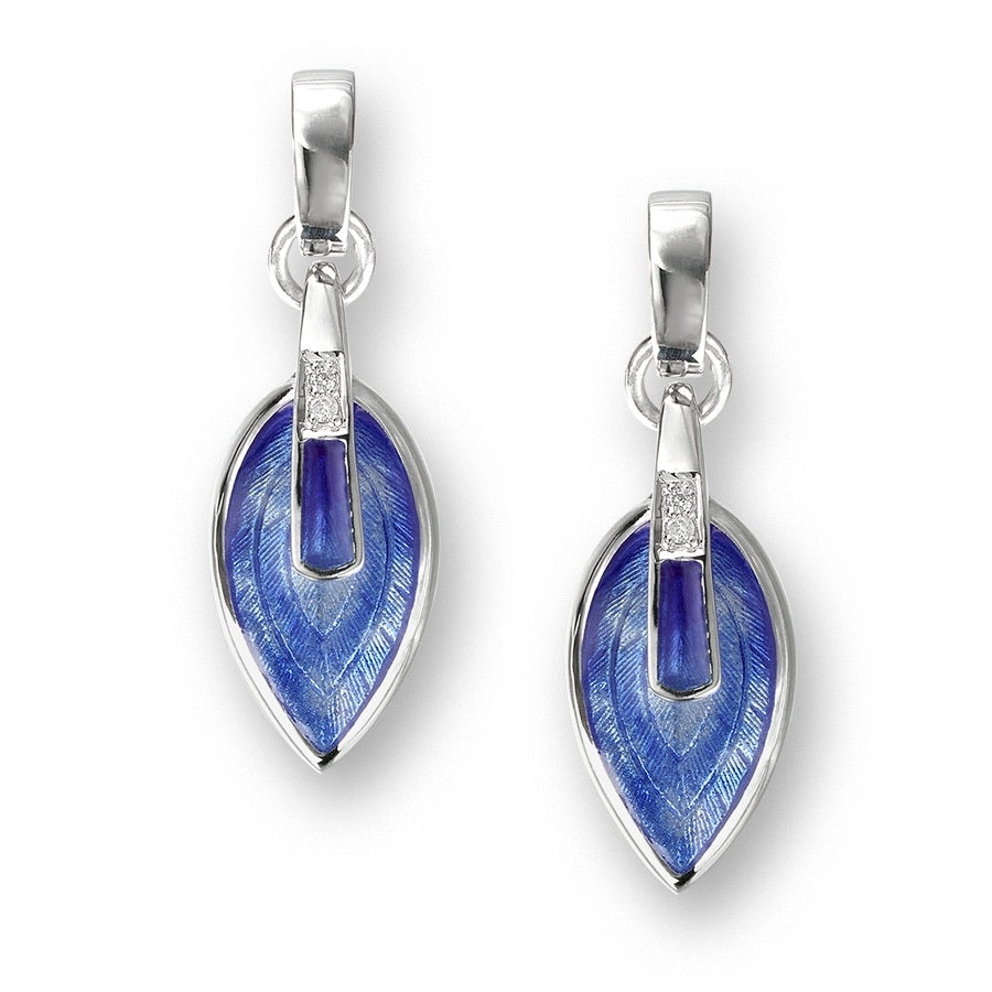 Nicole Barr Marquis Diamond Earrings Blue