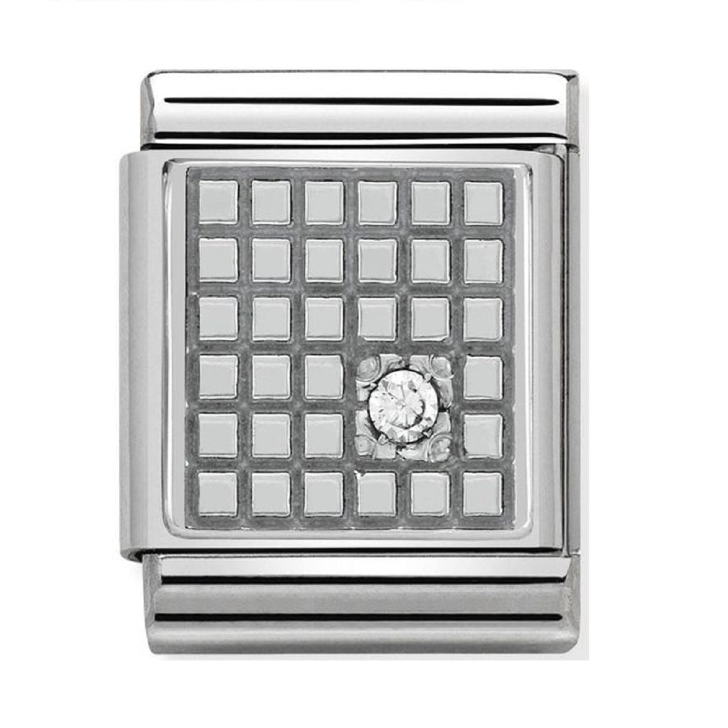 Nomination big Charms Oxidized Silver Grid with CZ 332307-01