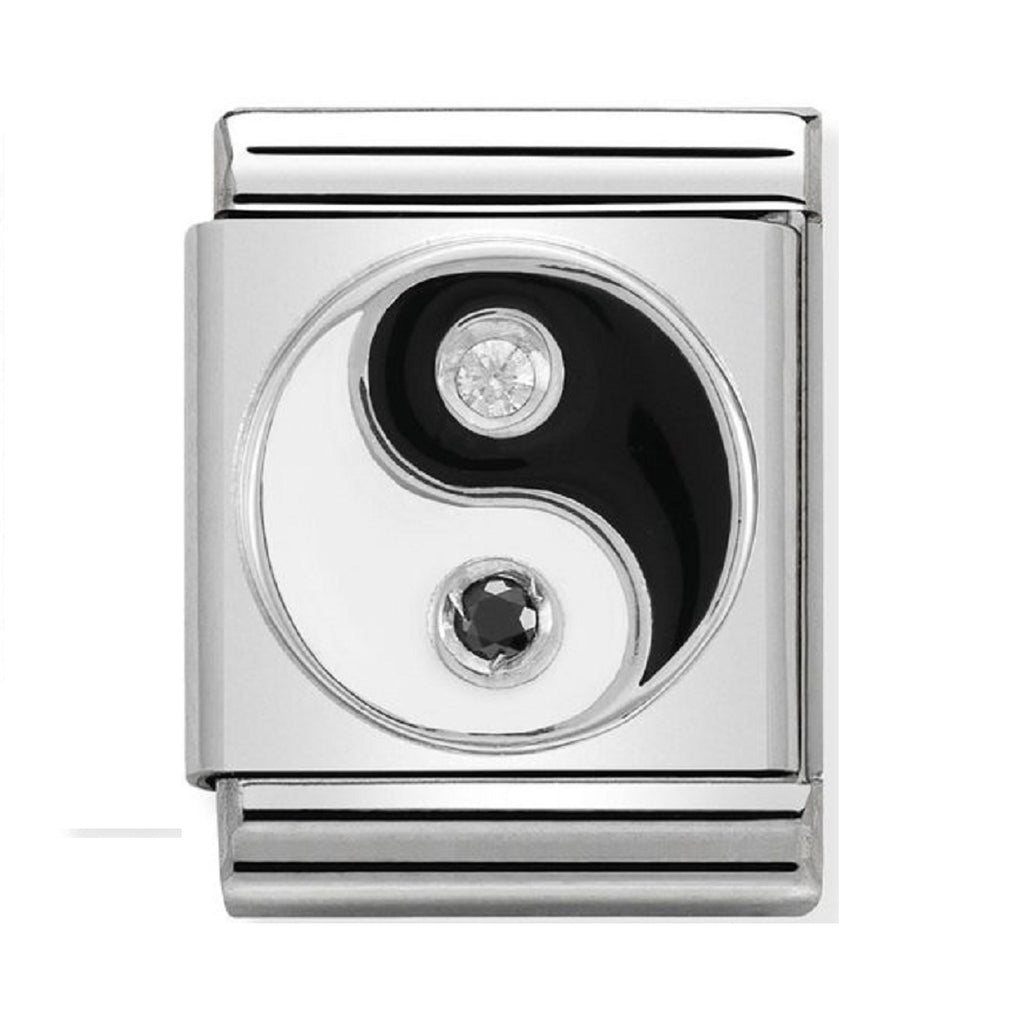 Nomination big Charms Silver and Enamel Yin Yang With CZ 332305-06