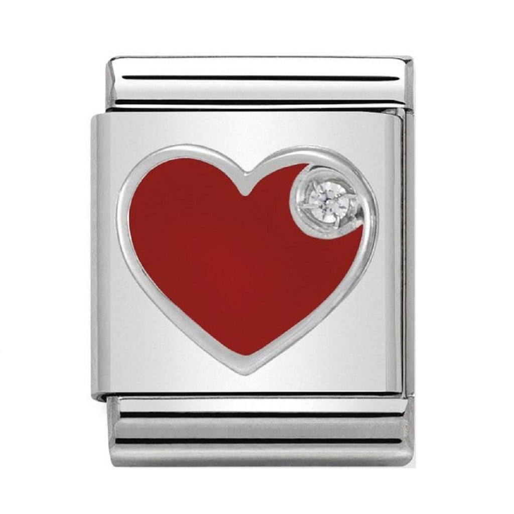 Nomination big Charms Silver and Red Enamel Heart with CZ 332305-07
