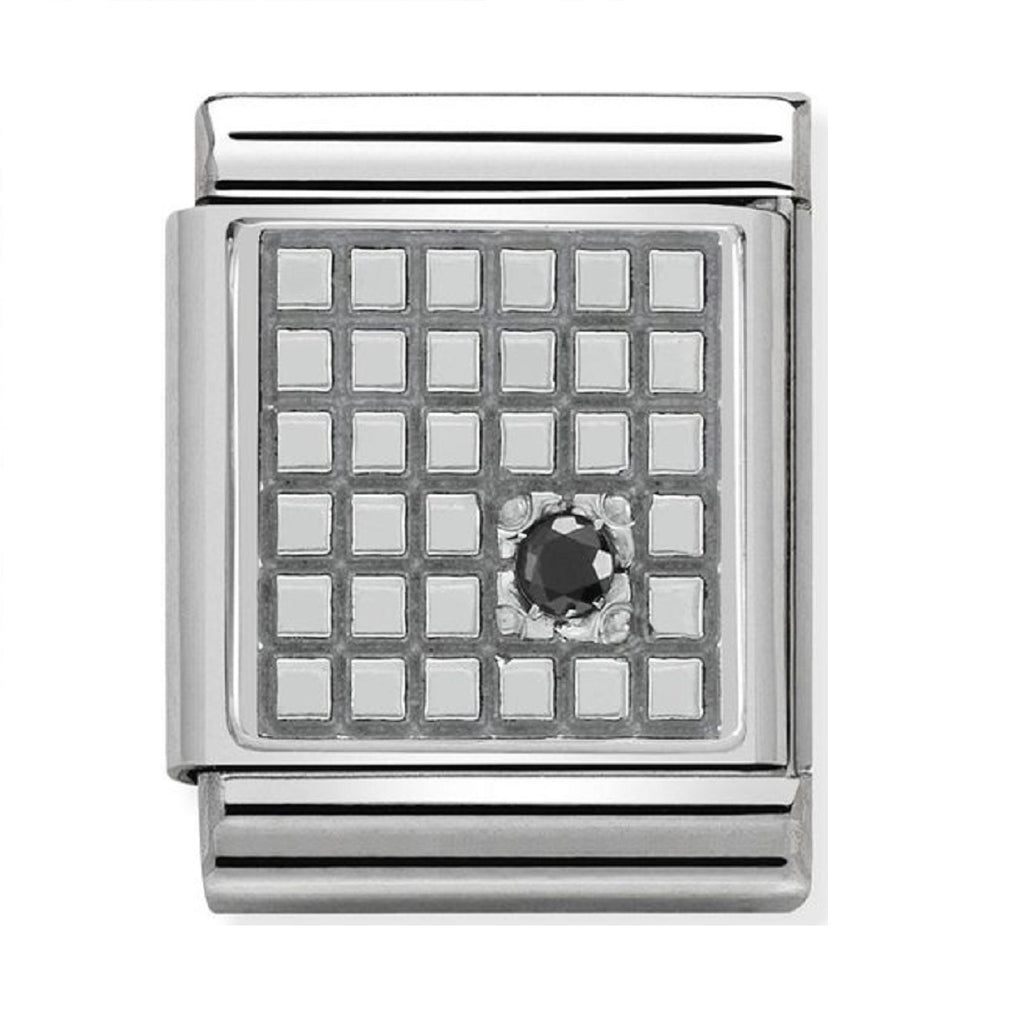 Nomination Charms Oxidized Silver Grid with Black CZ
