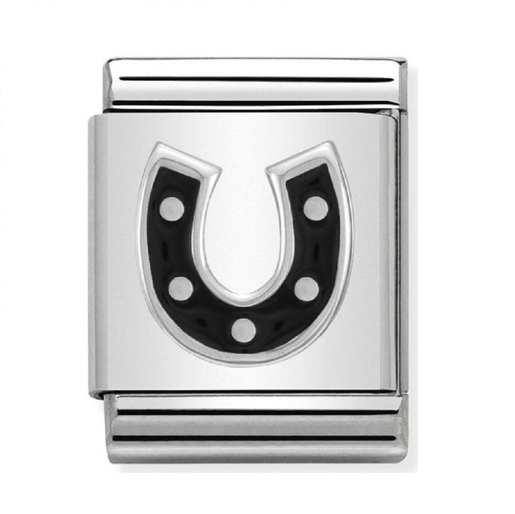 Nomination Charms Silver and Black Enamel Horseshoe