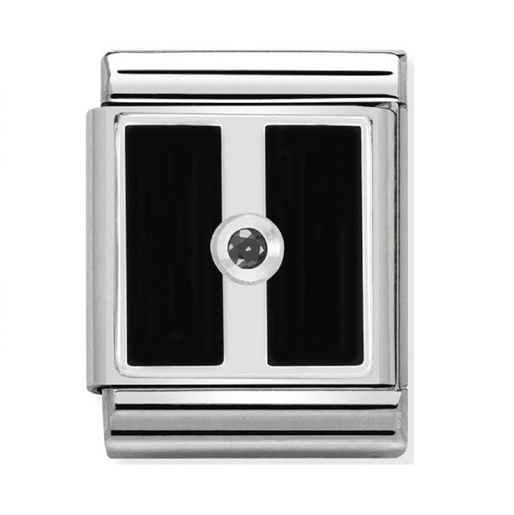 Nomination Charms Silver and Black Enamel plate with CZ