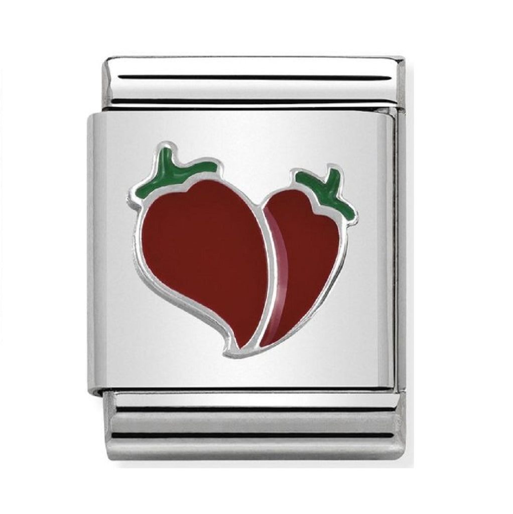 Nomination Charms Silver and Enamel Chili Heart
