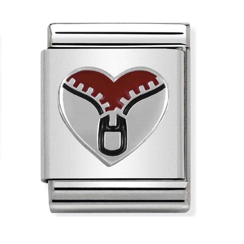 Nomination Charms Silver and Red Enamel Zip Heart
