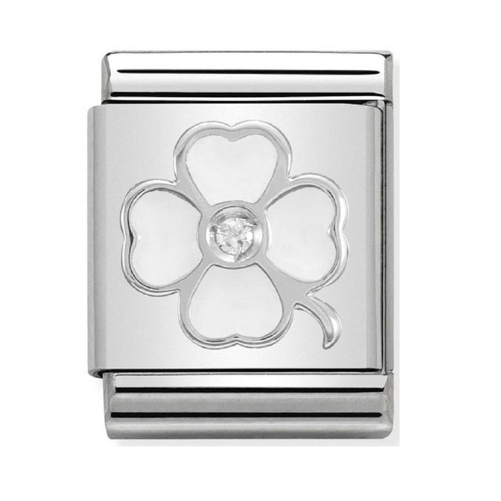 Nomination Charms Silver and White Enamel Clover with CZ