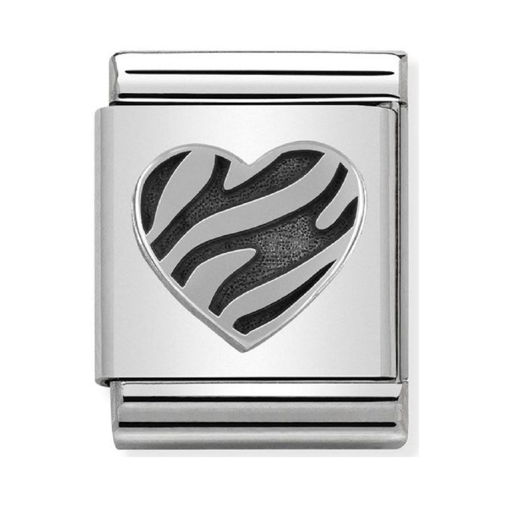 Nomination Charms Silver Striped Heart