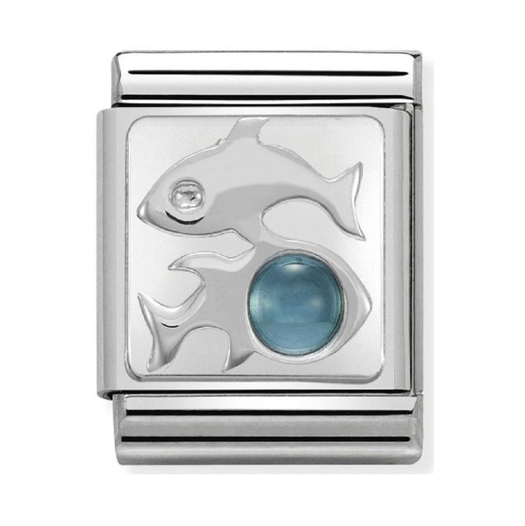 Nomination Charms Zodiac Pisces with blue Topaz