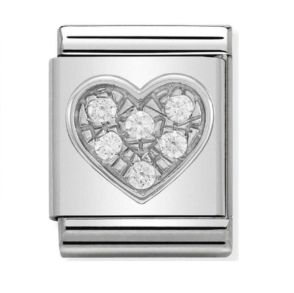 Nomination big Charms Silver Heart with CZ 332310-05