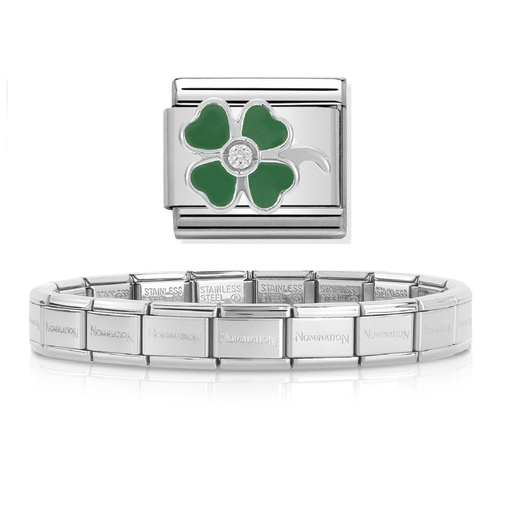 NOMINATION Starter Bracelet Silver Enamel and CZ 4-Leaf Clover