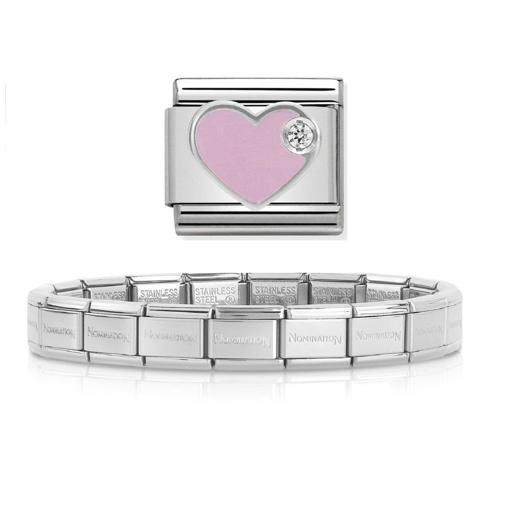 NOMINATION Starter Bracelet Silver with CZ and Enamel Heart
