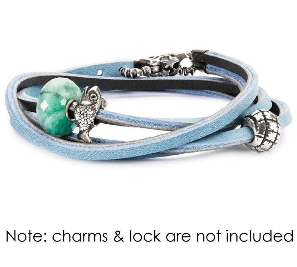 Trollbeads Leather Bracelet Light Blue/Dark Grey 36cm total length