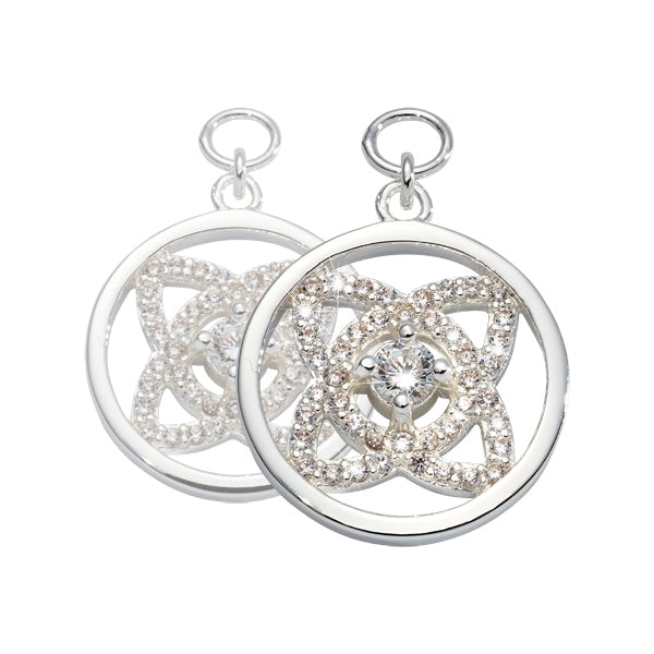 Nikki Lissoni Eastern Lace Silver Plated and CZ Earring Coin