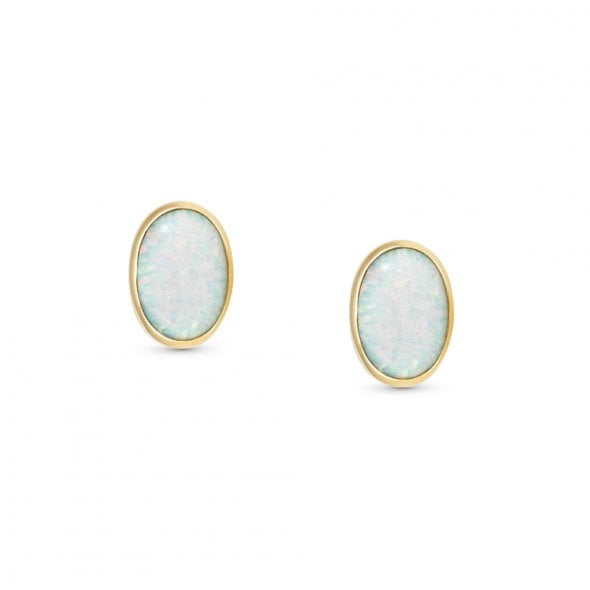 Nomination Steel and 18ct Gold with White Opal Oval Stud Earrings
