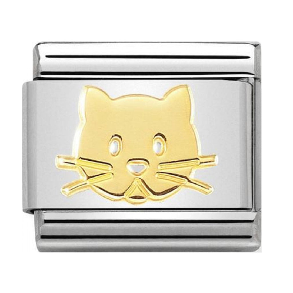 Nomination Link 18ct Gold Cat Face