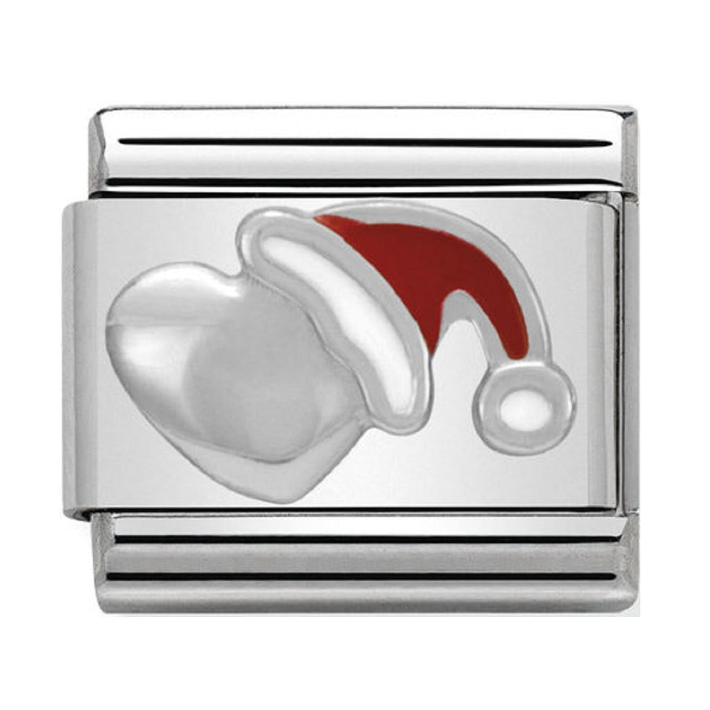 NOMINATION Charm Silver and Enamel Heart with Christmas Hat