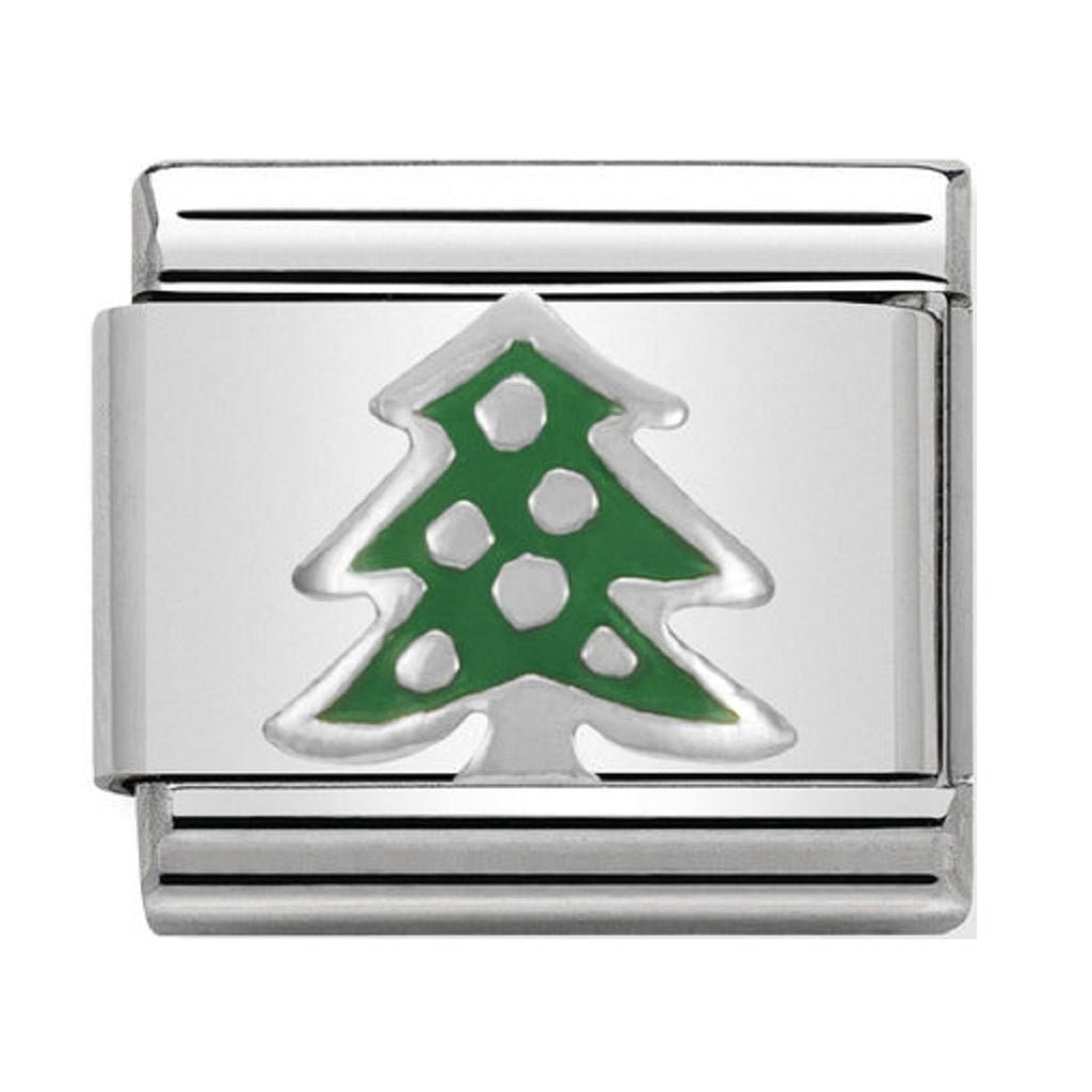 NOMINATION Charm Silver and Enamel Christmas Tree