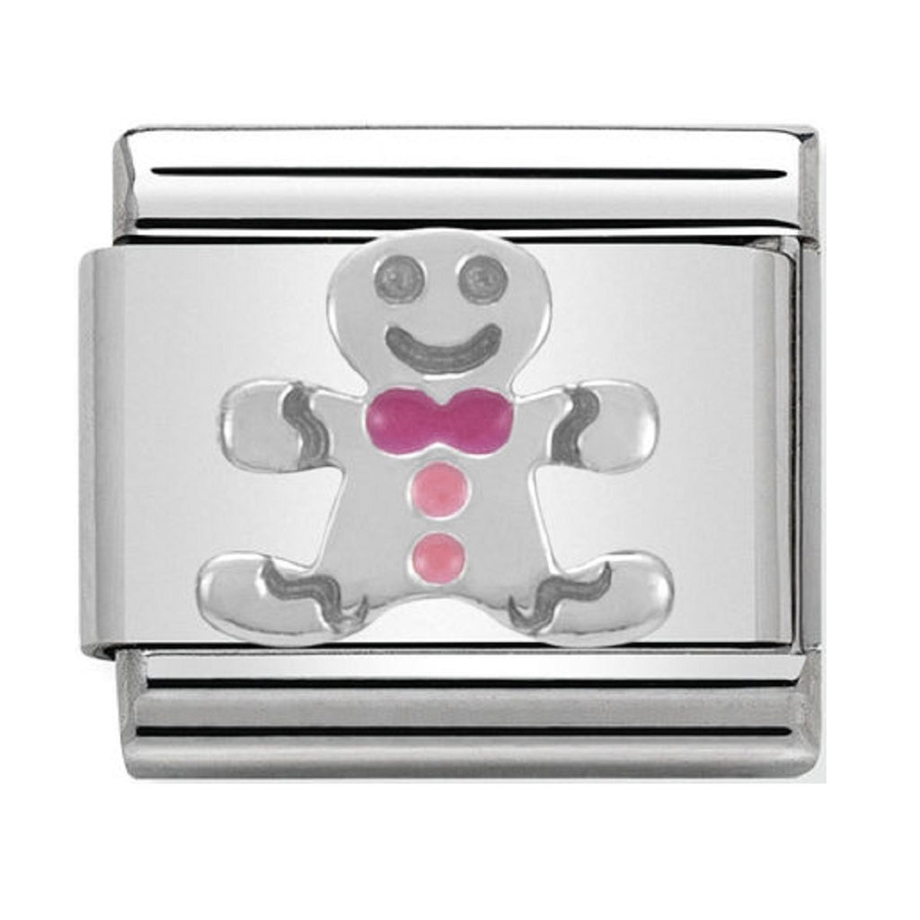 NOMINATION Charm Silver and Enamel Christmas Gingerbread Man
