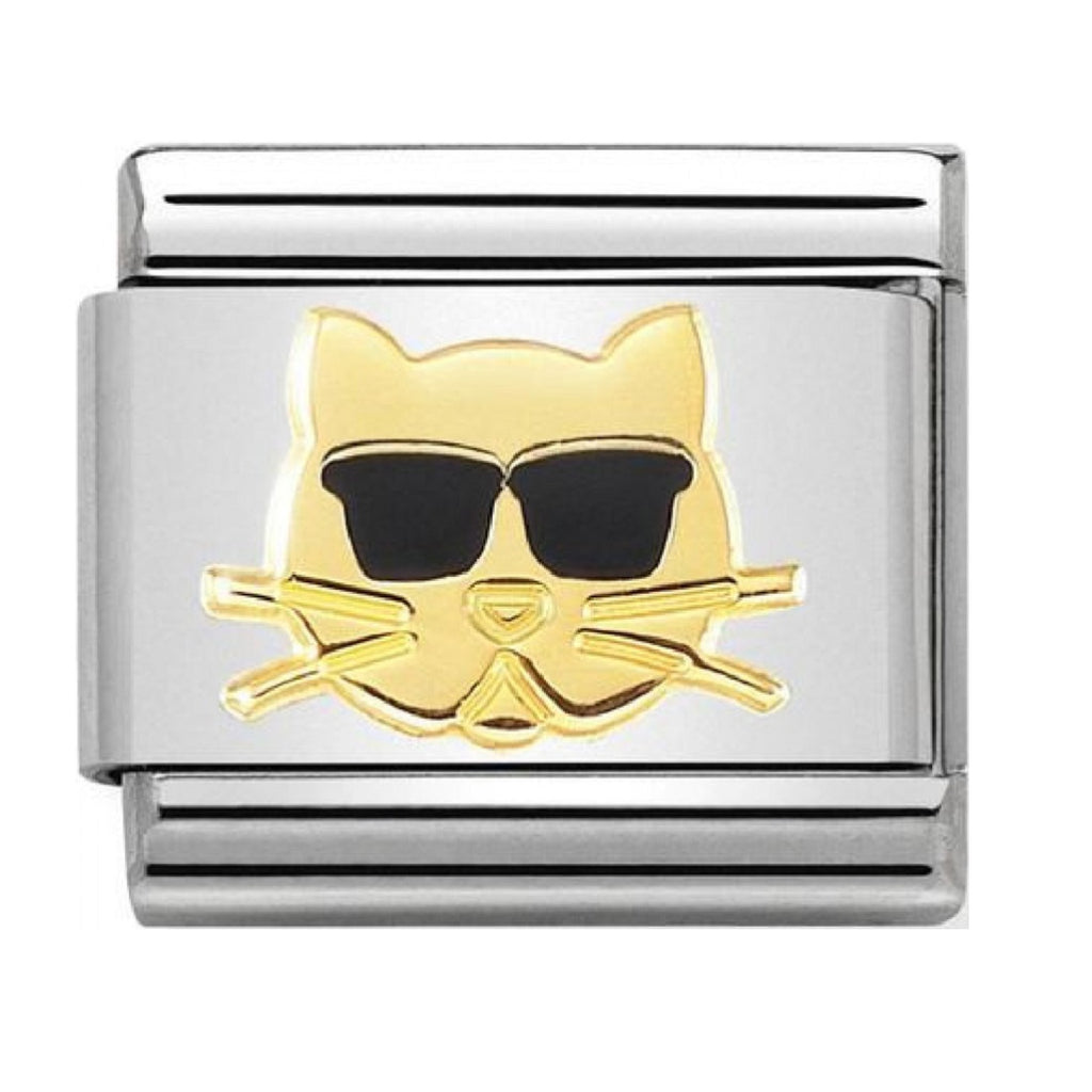 Nomination Link 18ct Gold and Enamel Cat with Sunglasses