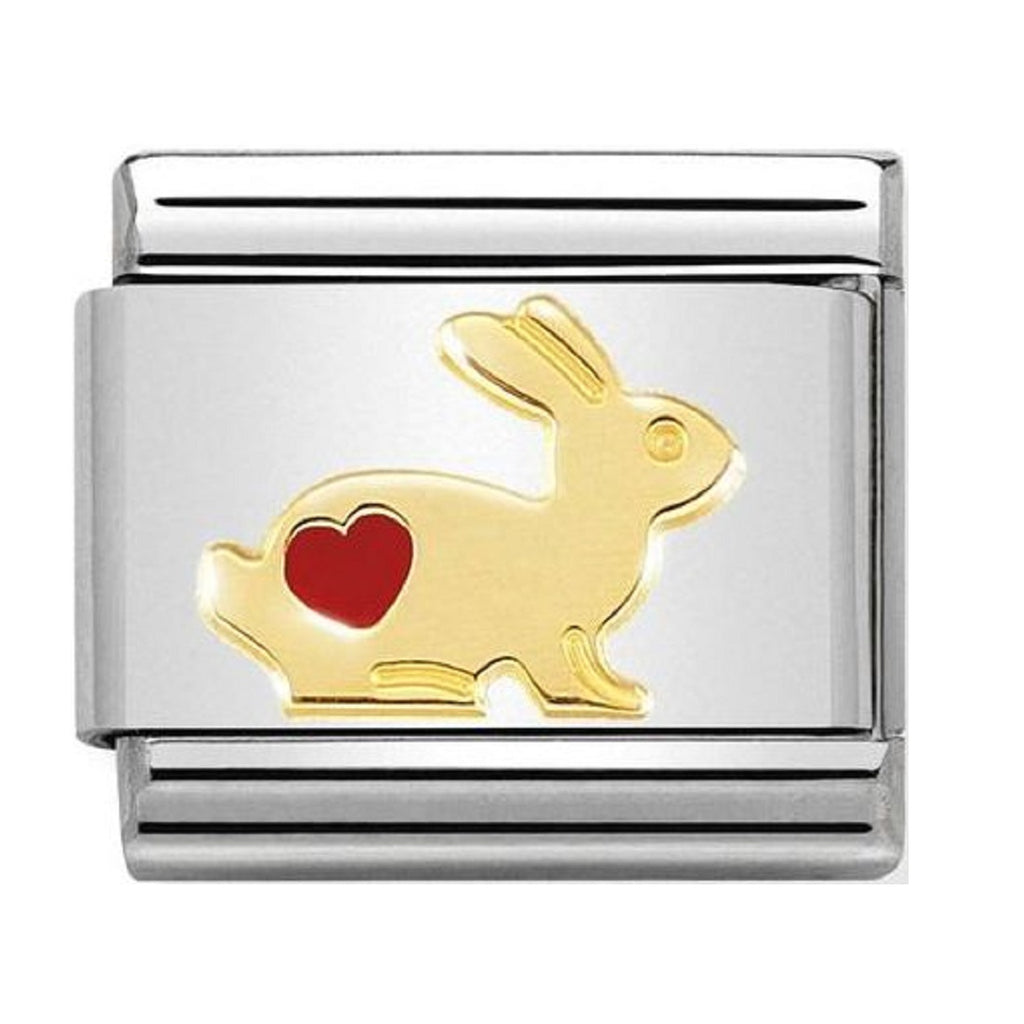 NOMINATION Charm 18ct Gold and Enamel Rabbit with Heart