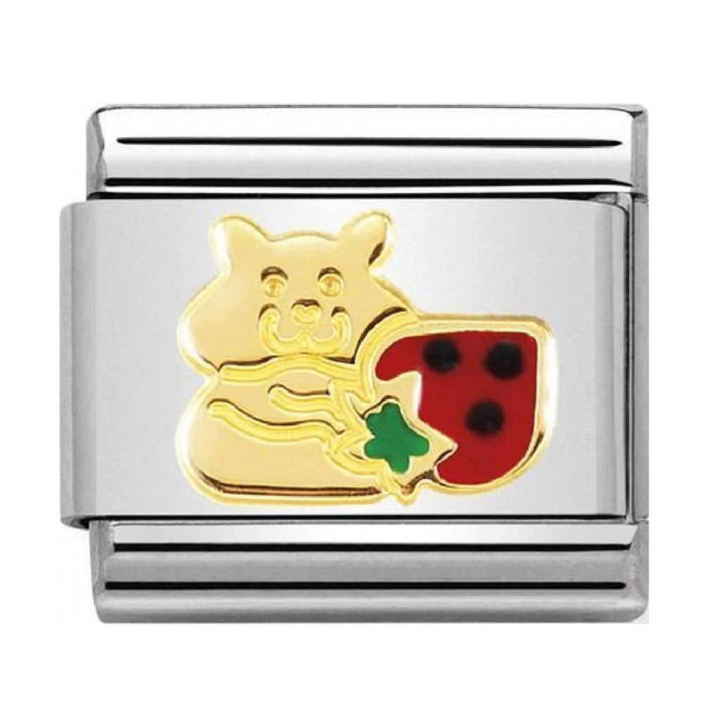 Nomination Link 18ct Gold and Enamel Hamster with Strawberry