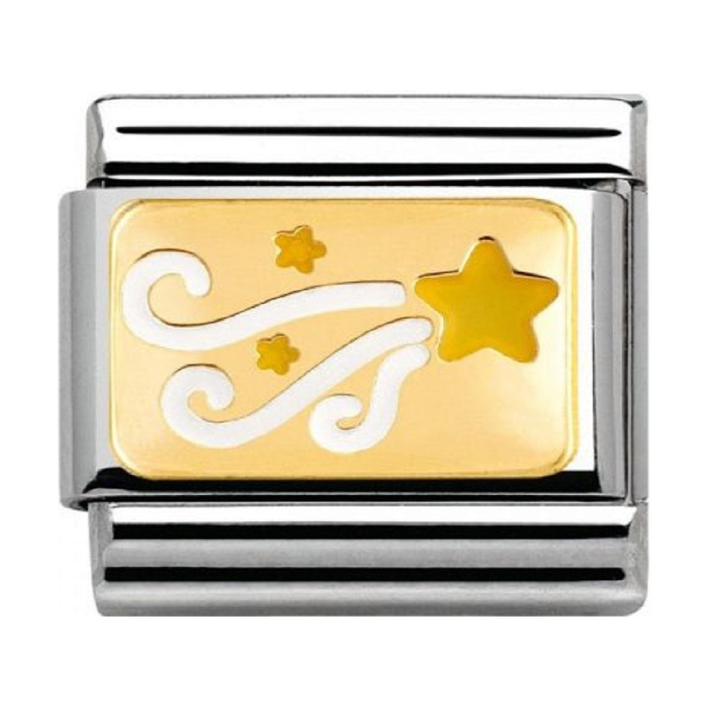 NOMINATION Charm 18ct Gold with White Enamel Shooting Star