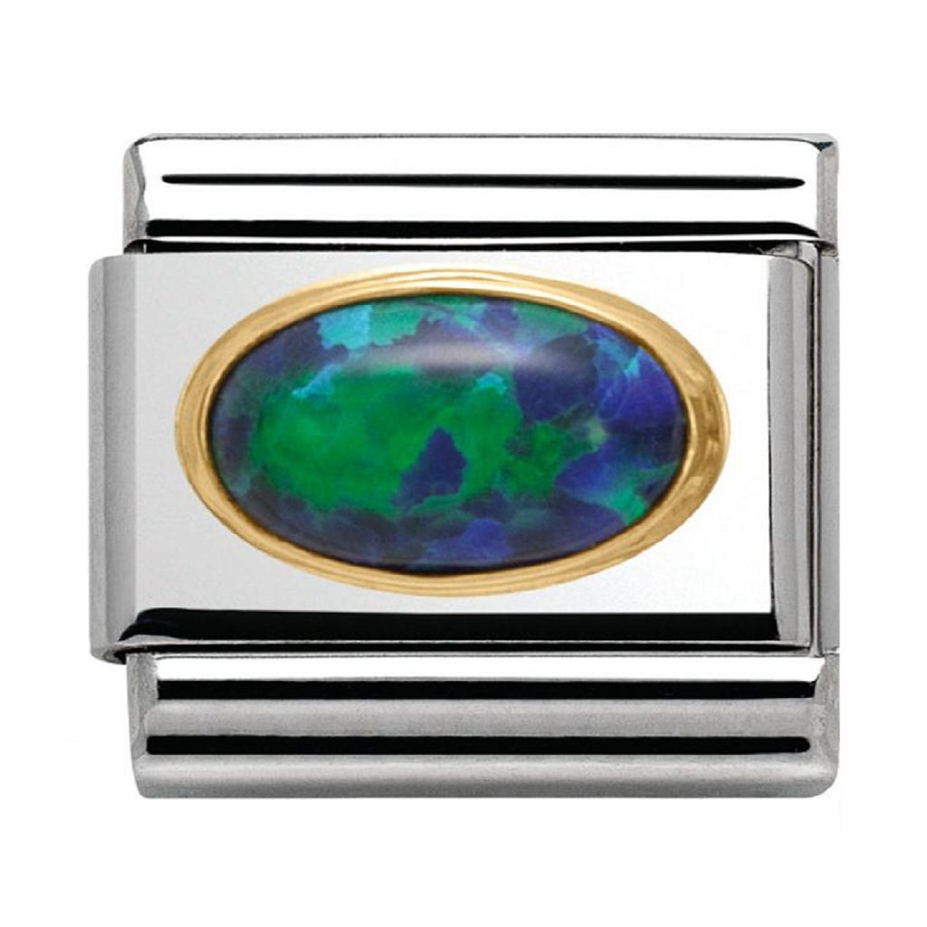 NOMINATION Charm 18ct Gold with Oval Green Opal