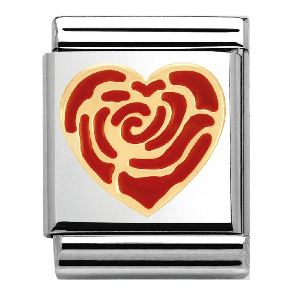 NOMINATION Charm BIG Gold and Enamel Red Rose Heart
