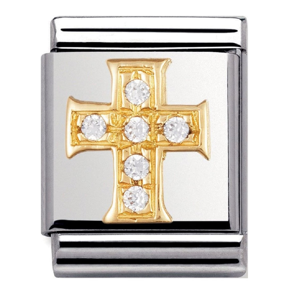 NOMINATION Charm BIG 18ct Gold and White CZ Cross
