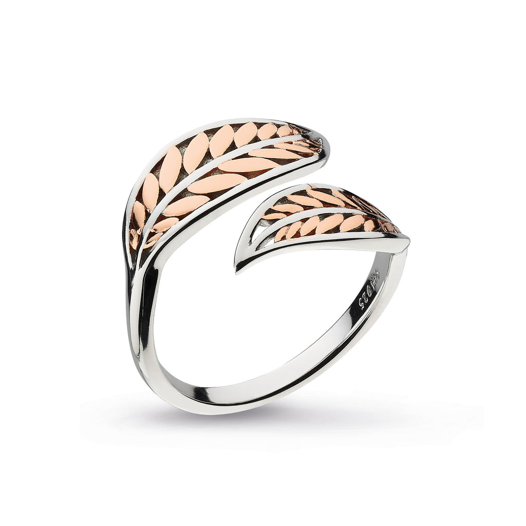 Kit Heath Silver and Rose Gold Plate Blossom Eden Blush Leaf Split Ring