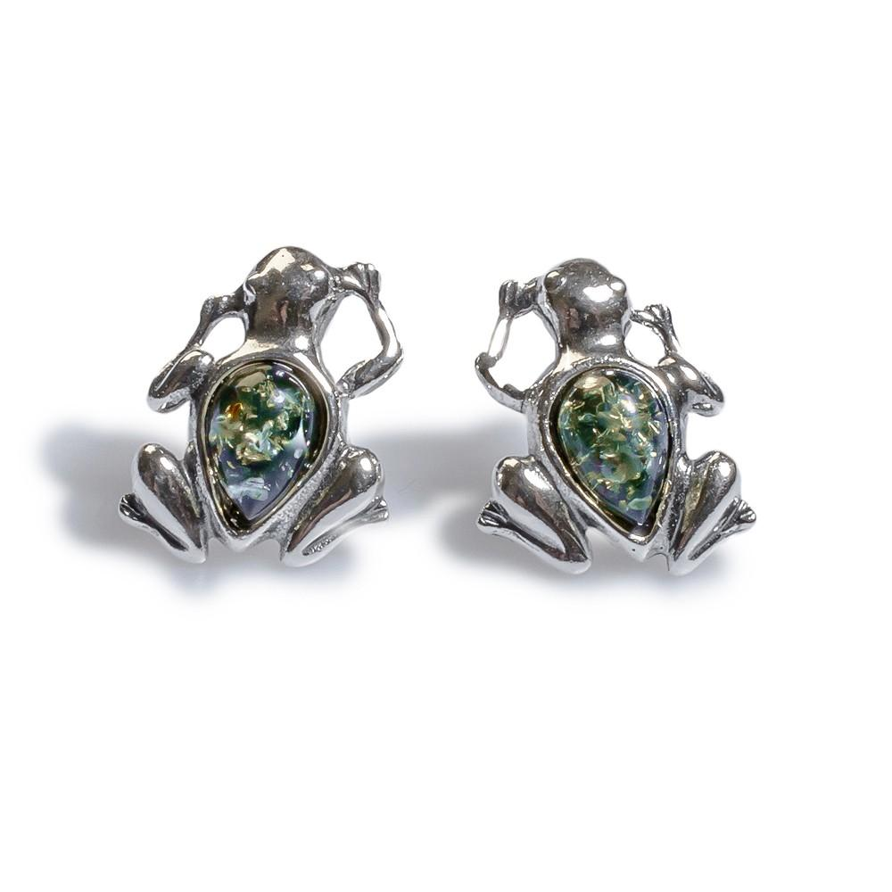 Henryka Silver and Green Amber Miniature Frendly Frog Stud Earrings