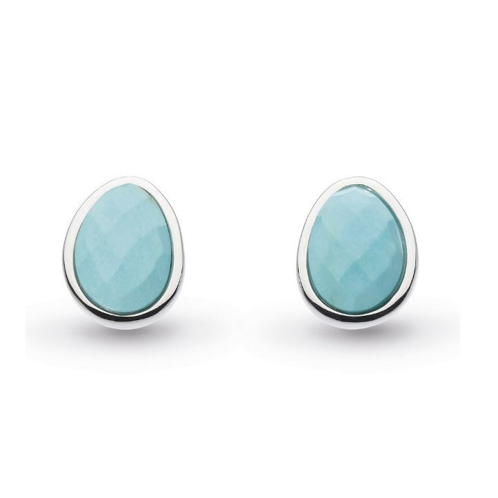 Kit Heath Silver Coast Pebble Turquoise Stud Earrings