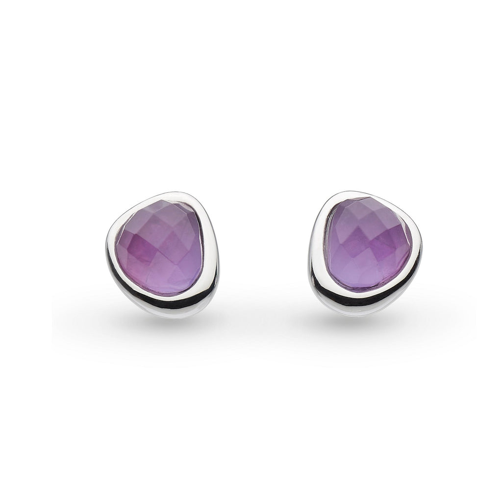 Kit Heath Silver Coast Pebble Amethyst Mini Stud Earrings