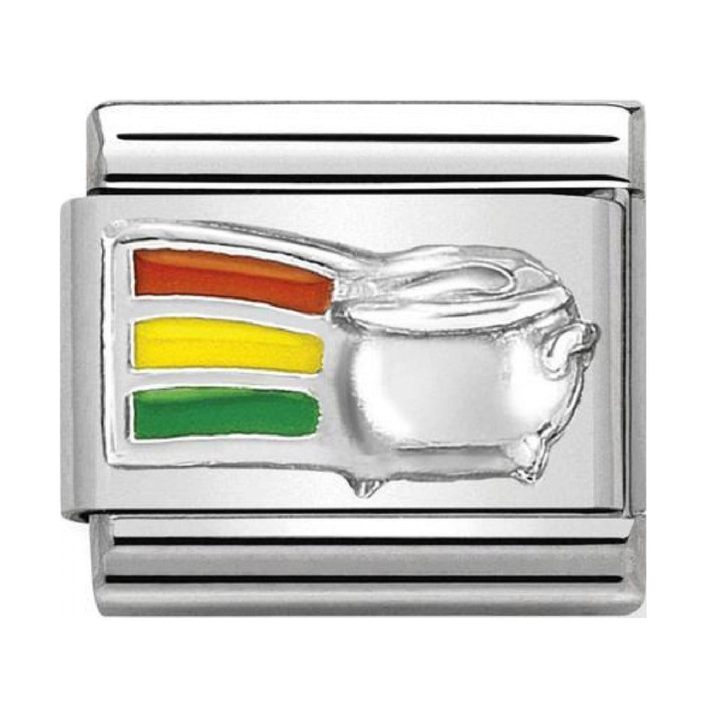 NOMINATION Charm Silver and Enamel Rainbow and Pot of Gold
