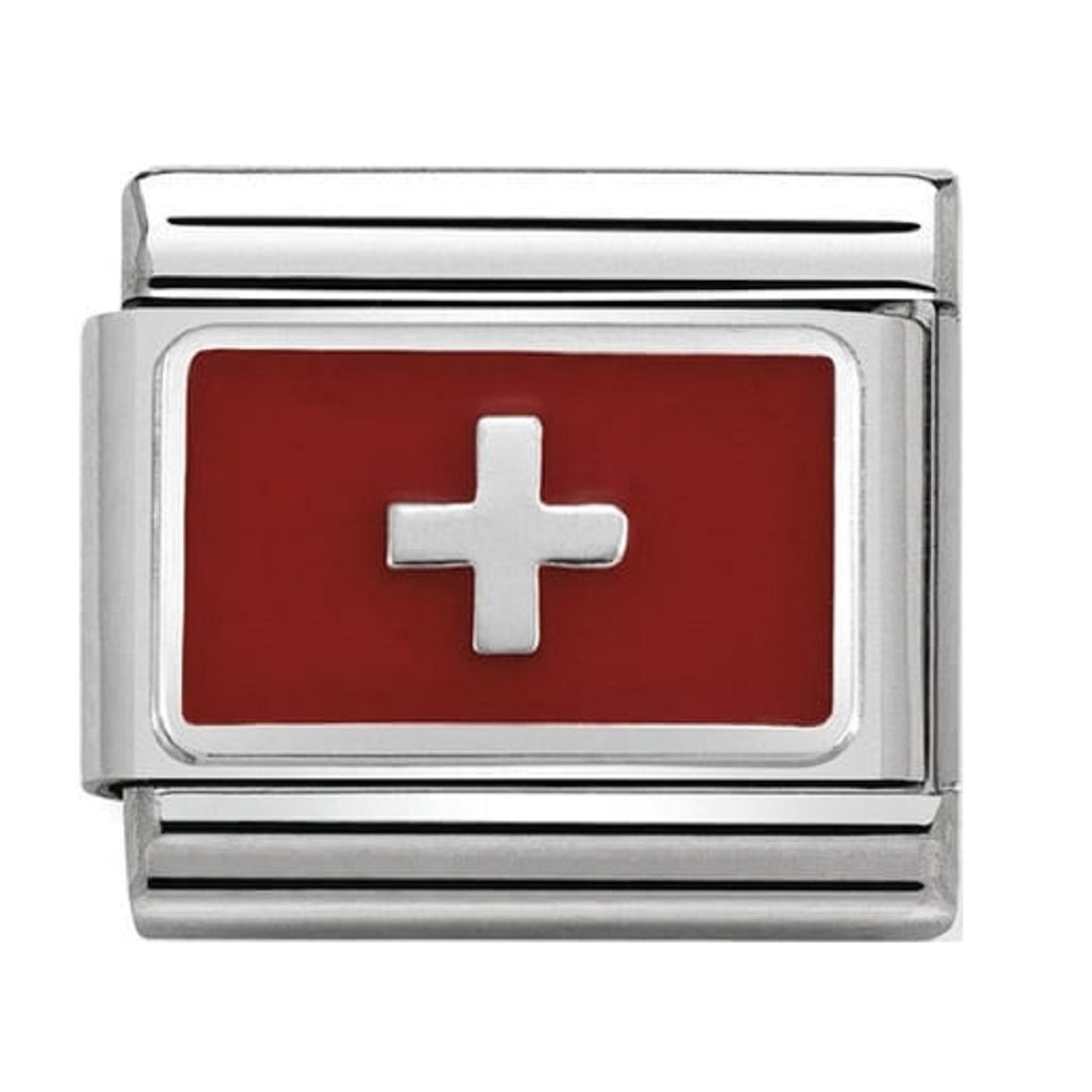 Nomination Links Silver and Enamel Switzerland Flag