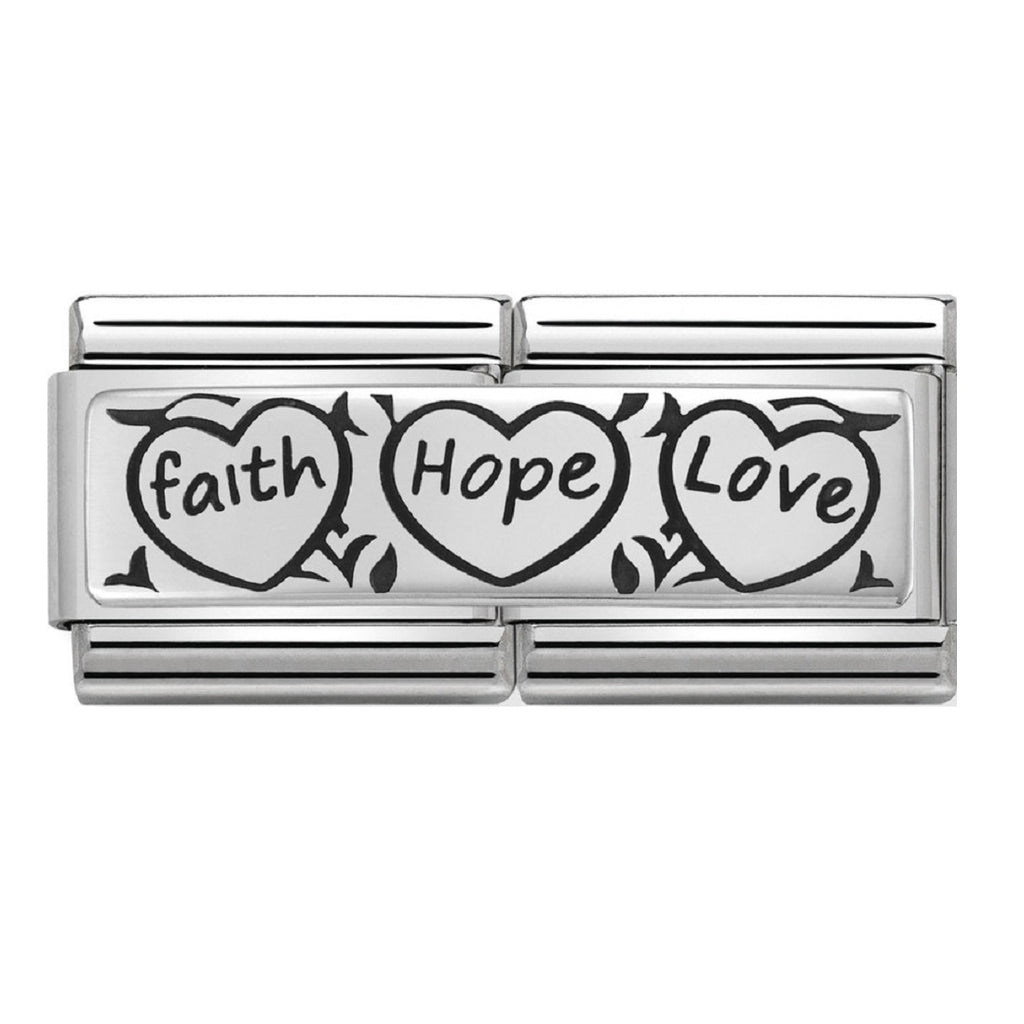 Nomination Links Silver Double Faith Hope Love