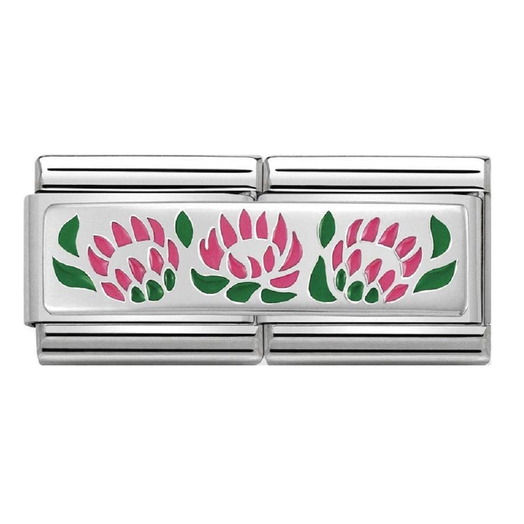 Nomination  Double Link Silver and Enamel Protee Flowers
