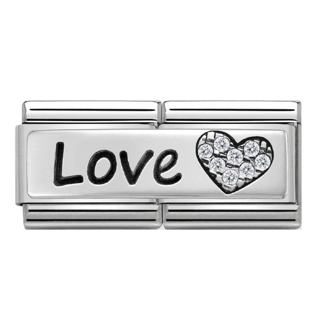 NOMINATION Charm Double Silver and CZ Love and Heart