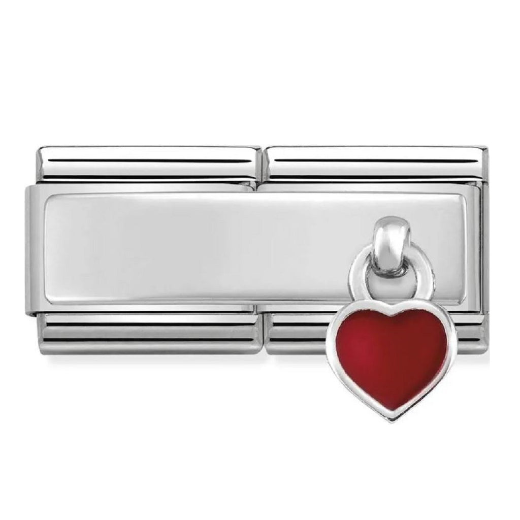 Nomination Double Link Silver Engravable Plate and Pendant Red Heart