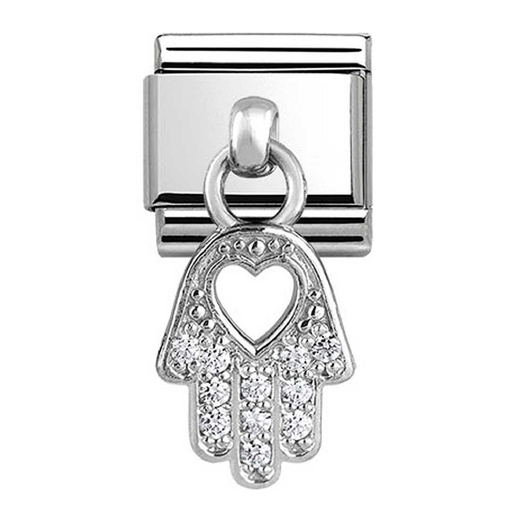NOMINATION Charm Pendand Silver and CZ Hand of Fatima