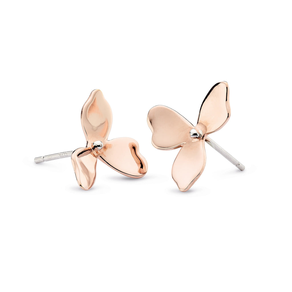 Kit Heath Silver and Rose Gold Plated Blossom Petal Bloom Stud Earrings